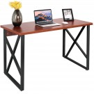 CHEFJOY Computer Desk PC Laptop Table Wood Workstation Study Home Office Furniture (Coffee and Gray)
