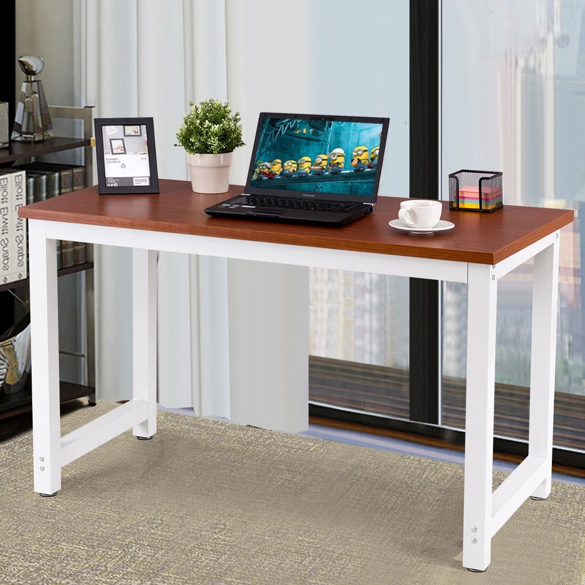 CHEFJOY Computer Desk PC Laptop Table Wood Work-Station Study Home Office Furniture, Coffee