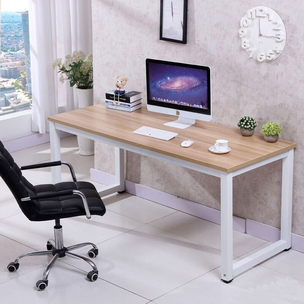 CHEFJOY Computer Desk PC Laptop Table Wood Work-Station Study Home Office Furniture, White