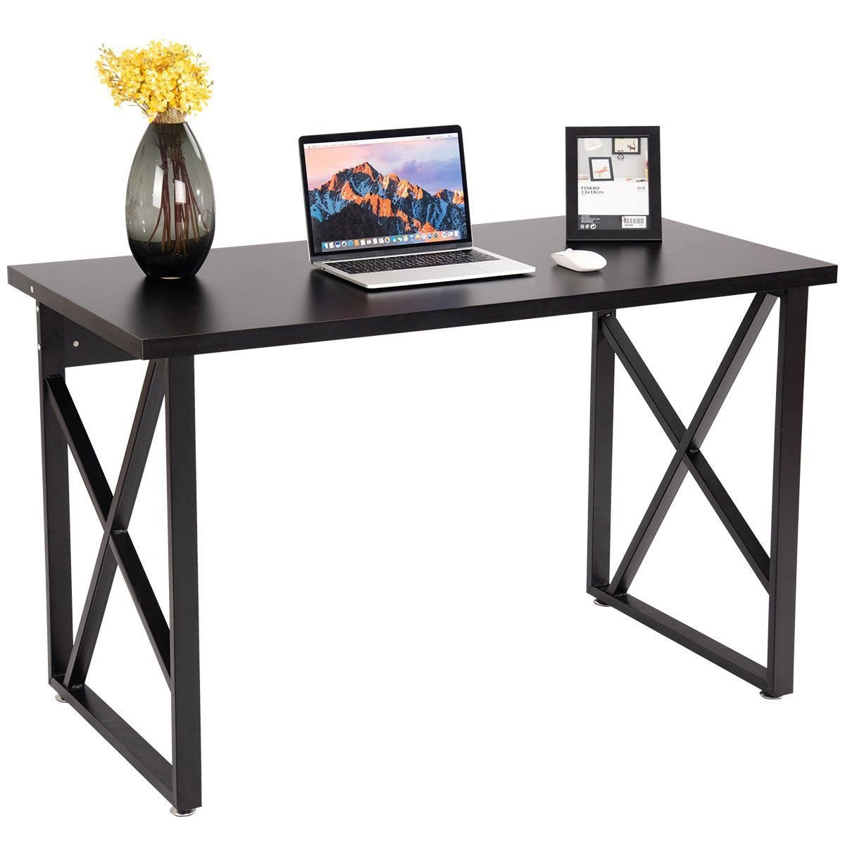CHEFJOY Computer Desk PC Laptop Table Wood Workstation Study Home Office Furniture (Black and Gray)
