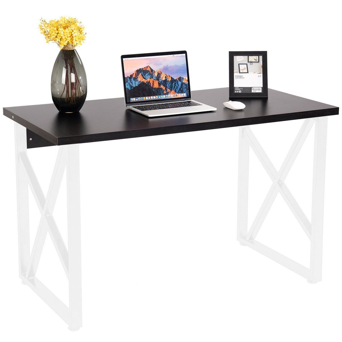 CHEFJOY Computer Desk PC Laptop Table Wood Workstation Study Home Office Furniture (White and Black)